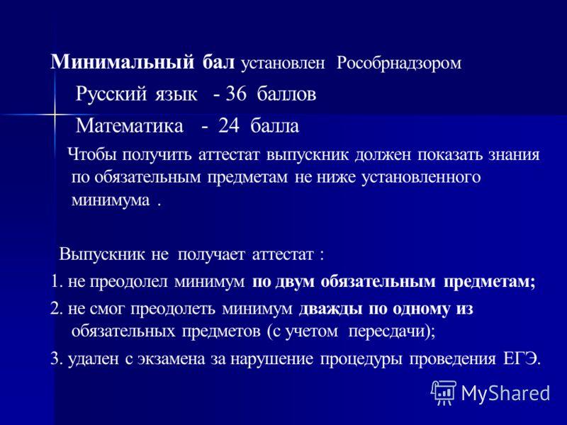 Минимальный бал установлен Рособрнадзором Русский язык - 36 баллов Математика - 24 балла Чтобы получить аттестат выпускник должен показать знания по обязательным предметам не ниже установленного минимума. Выпускник не получает аттестат : 1. не преодо