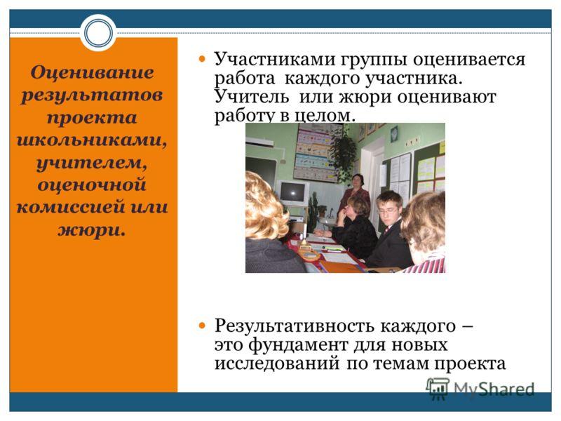 Оценивание результатов проекта школьниками, учителем, оценочной комиссией или жюри. Участниками группы оценивается работа каждого участника. Учитель или жюри оценивают работу в целом. Результативность каждого – это фундамент для новых исследований по