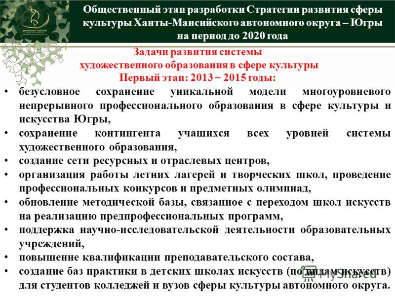 Общественный этап разработки Стратегии развития сферы культуры Ханты-Мансийского автономного округа – Югры на период до 2020 года Задачи развития системы художественного образования в сфере культуры Первый этап: 2013 – 2015 годы: безусловное сохранен