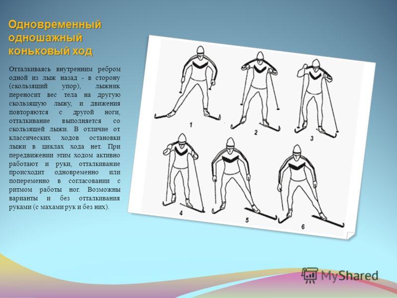 Одновременный одношажный коньковый ход Отталкиваясь внутренним ребром одной из лыж назад - в сторону (скользящий упор), лыжник переносит вес тела на другую скользящую лыжу, и движения повторяются с другой ноги, отталкивание выполняется со скользящей