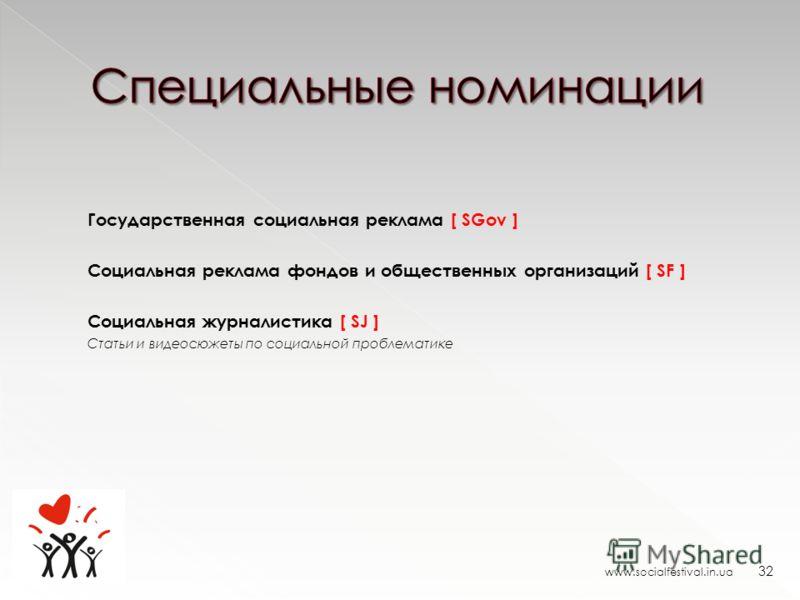 www.socialfestival.in.ua 32 Государственная социальная реклама [ SGov ] Социальная реклама фондов и общественных организаций [ SF ] Социальная журналистика [ SJ ] Статьи и видеосюжеты по социальной проблематике
