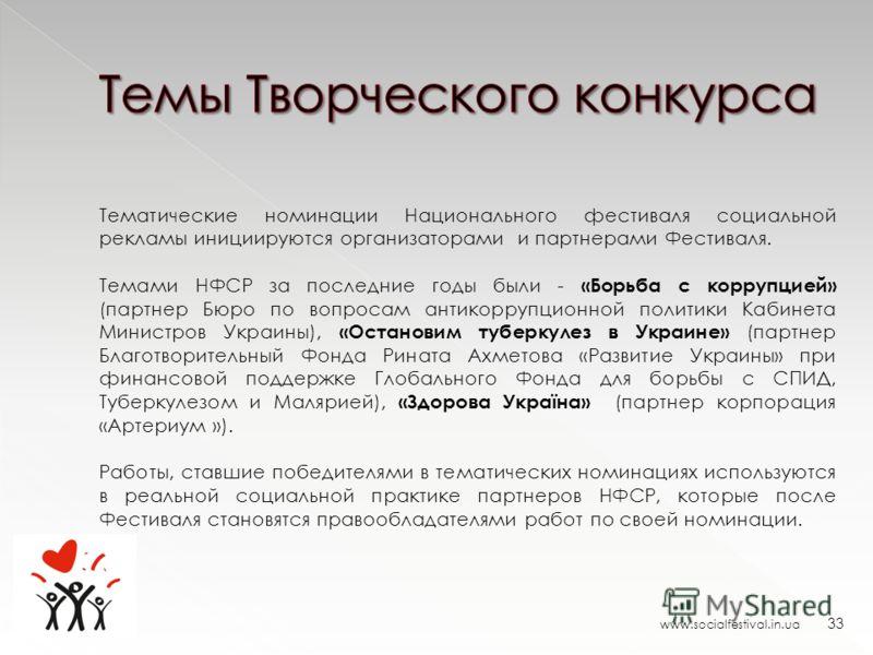 www.socialfestival.in.ua 33 Тематические номинации Национального фестиваля социальной рекламы инициируются организаторами и партнерами Фестиваля. Темами НФСР за последние годы были - «Борьба с коррупцией» (партнер Бюро по вопросам антикоррупционной п