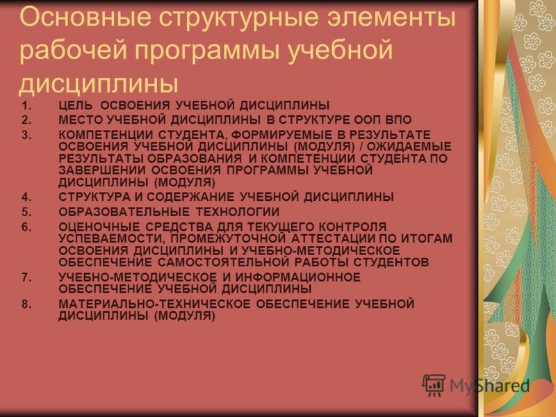 Основные структурные элементы рабочей программы учебной дисциплины 1.ЦЕЛЬ ОСВОЕНИЯ УЧЕБНОЙ ДИСЦИПЛИНЫ 2.МЕСТО УЧЕБНОЙ ДИСЦИПЛИНЫ В СТРУКТУРЕ ООП ВПО 3.КОМПЕТЕНЦИИ СТУДЕНТА, ФОРМИРУЕМЫЕ В РЕЗУЛЬТАТЕ ОСВОЕНИЯ УЧЕБНОЙ ДИСЦИПЛИНЫ (МОДУЛЯ) / ОЖИДАЕМЫЕ РЕЗ