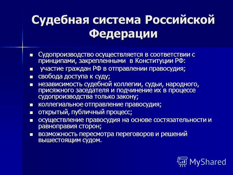 Судебная система Российской Федерации Судопроизводство осуществляется в соответствии с принципами, закрепленными в Конституции РФ: Судопроизводство осуществляется в соответствии с принципами, закрепленными в Конституции РФ: участие граждан РФ в отпра