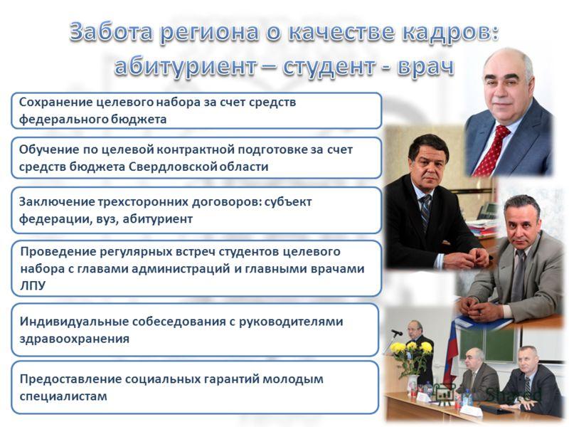 Сохранение целевого набора за счет средств федерального бюджета Обучение по целевой контрактной подготовке за счет средств бюджета Свердловской области Индивидуальные собеседования с руководителями здравоохранения Заключение трехсторонних договоров: