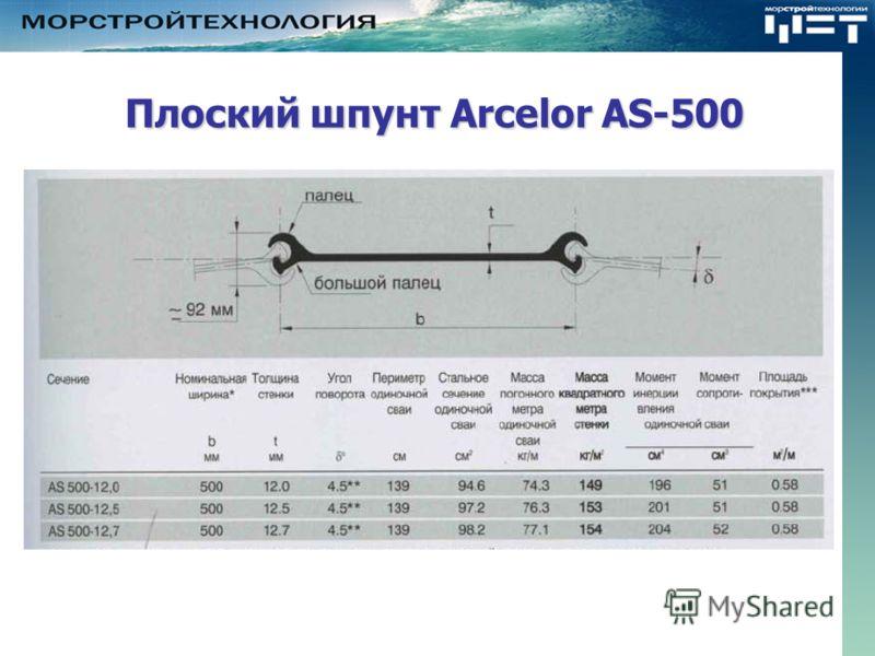 Плоский шпунт Arcelor AS-500