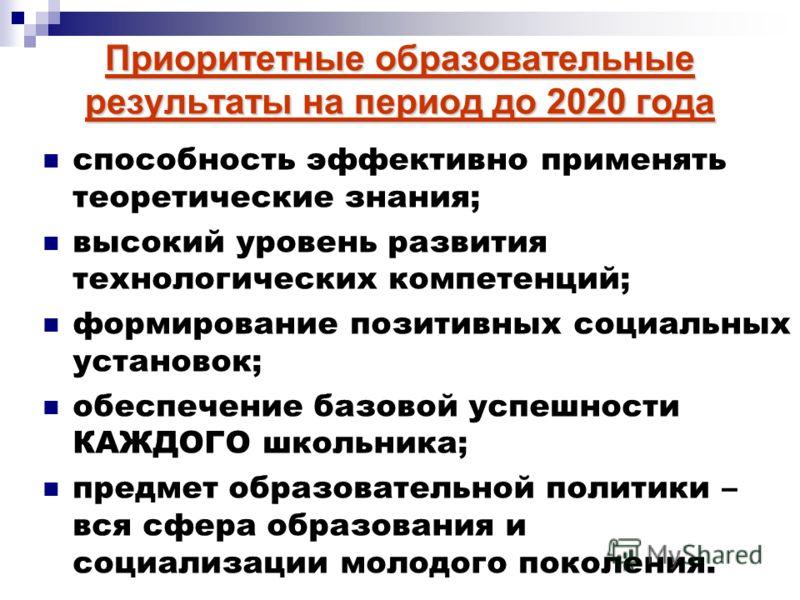 Приоритетные образовательные результаты на период до 2020 года способность эффективно применять теоретические знания; высокий уровень развития технологических компетенций; формирование позитивных социальных установок; обеспечение базовой успешности К