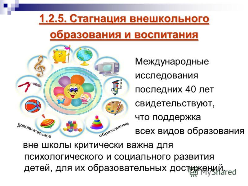 1.2.5. Стагнация внешкольного образования и воспитания Международные исследования последних 40 лет свидетельствуют, что поддержка всех видов образования вне школы критически важна для психологического и социального развития детей, для их образователь