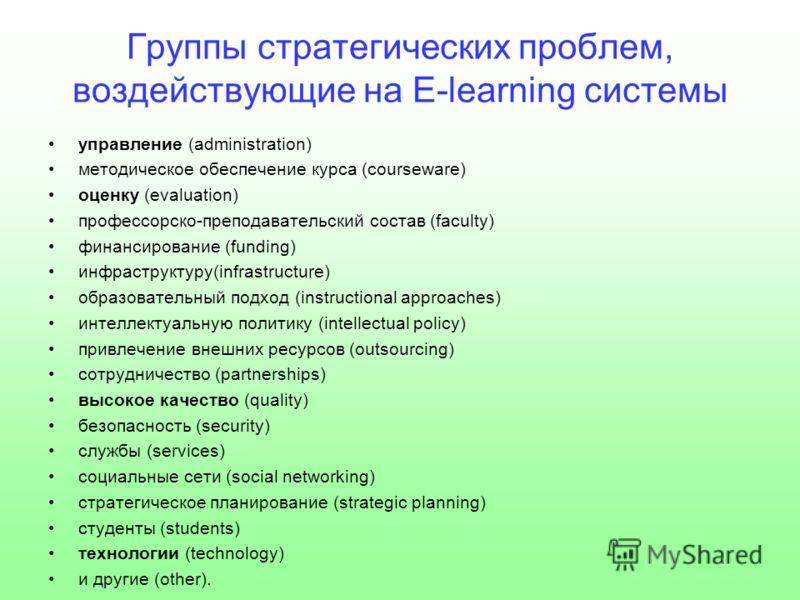Группы стратегических проблем, воздействующие на E-learning системы управление (administration) методическое обеспечение курса (courseware) оценку (evaluation) профессорско-преподавательский состав (faculty) финансирование (funding) инфраструктуру(in