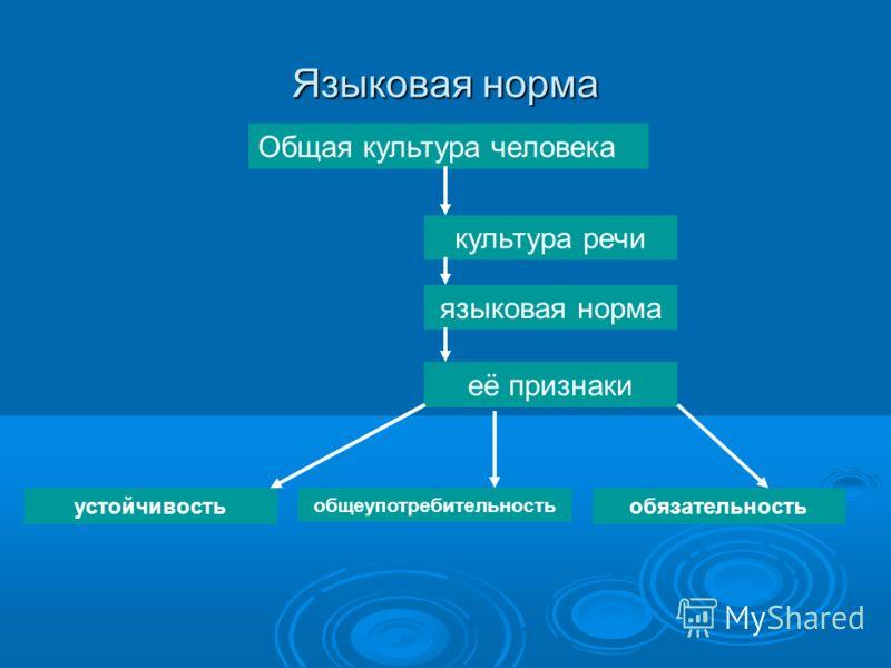 Языковая норма Общая культура человека её признаки языковая норма культура речи обязательность общеупотребительность устойчивость