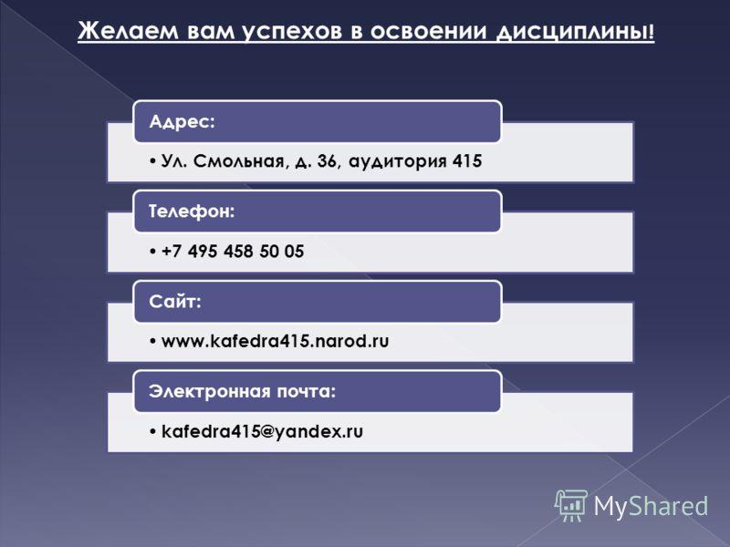 Желаем вам успехов в освоении дисциплины ! Ул. Смольная, д. 36, аудитория 415 Адрес: +7 495 458 50 05 Телефон: www.kafedra415.narod.ru Сайт: kafedra415@yandex.ru Электронная почта: