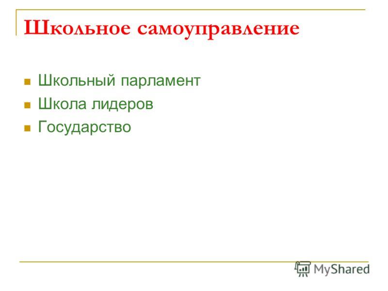 Школьное самоуправление Школьный парламент Школа лидеров Государство