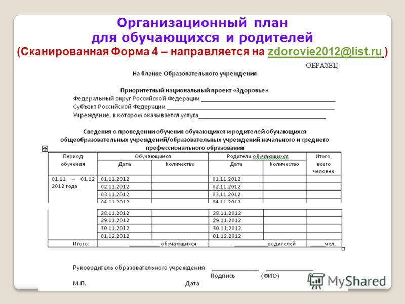 Организационный план для обучающихся и родителей (Сканированная Форма 4 – направляется на zdorovie2012@list.ru )zdorovie2012@list.ru