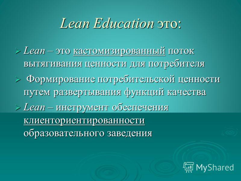 Lean Education это: Lean – это кастомизированный поток вытягивания ценности для потребителя Lean – это кастомизированный поток вытягивания ценности для потребителя Формирование потребительской ценности путем развертывания функций качества Формировани