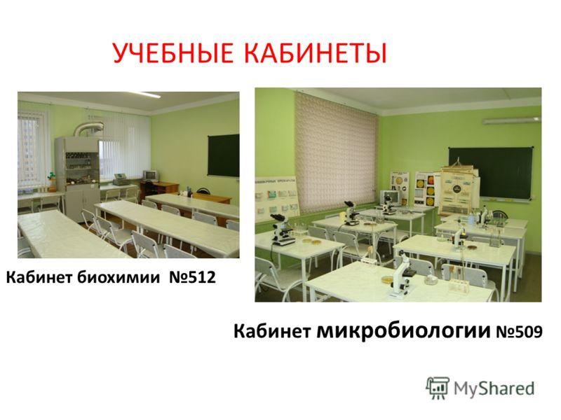 УЧЕБНЫЕ КАБИНЕТЫ Кабинет биохимии 512 Кабинет микробиологии 509