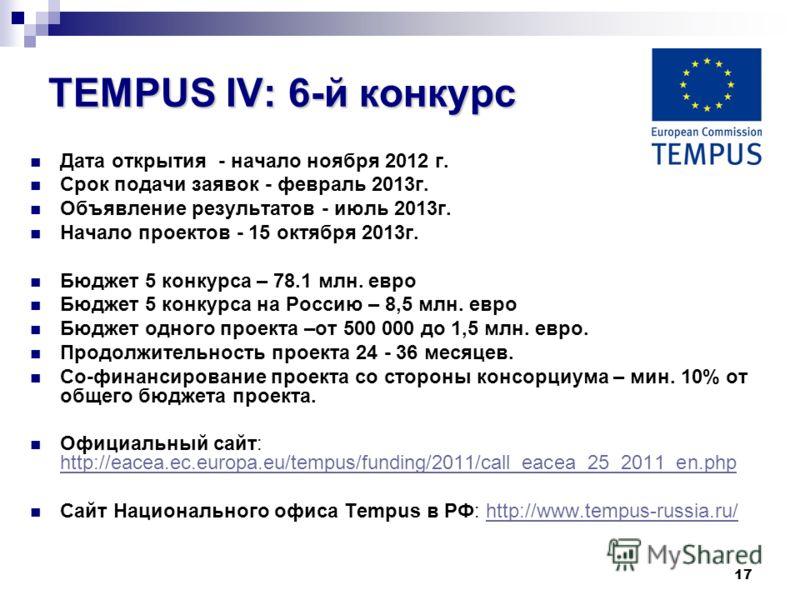 17 TEMPUS IV: 6-й конкурс Дата открытия - начало ноября 2012 г. Срок подачи заявок - февраль 2013г. Объявление результатов - июль 2013г. Начало проектов - 15 октября 2013г. Бюджет 5 конкурса – 78.1 млн. евро Бюджет 5 конкурса на Россию – 8,5 млн. евр