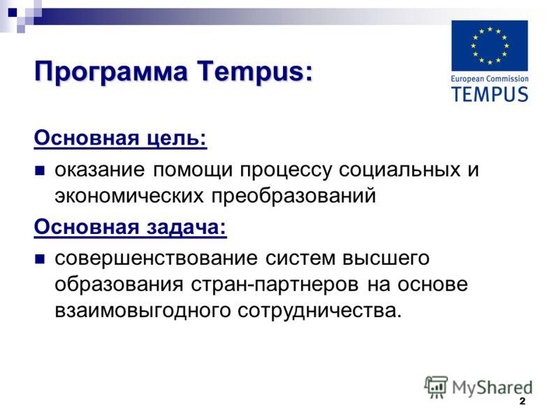 2 Программа Tempus: Основная цель: оказание помощи процессу социальных и экономических преобразований Основная задача: совершенствование систем высшего образования стран-партнеров на основе взаимовыгодного сотрудничества.