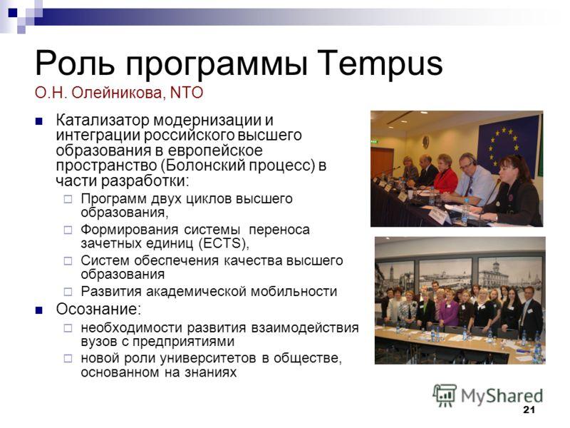 21 Роль программы Tempus О.Н. Олейникова, NTO Катализатор модернизации и интеграции российского высшего образования в европейское пространство (Болонский процесс) в части разработки: Программ двух циклов высшего образования, Формирования системы пере