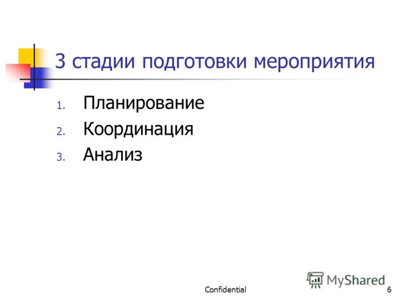 Confidential6 3 стадии подготовки мероприятия 1. Планирование 2. Координация 3. Анализ