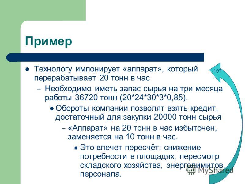 Пример Технологу импонирует «аппарат», который перерабатывает 20 тонн в час – Необходимо иметь запас сырья на три месяца работы 36720 тонн (20*24*30*3*0,85). Обороты компании позволят взять кредит, достаточный для закупки 20000 тонн сырья – «Аппарат»