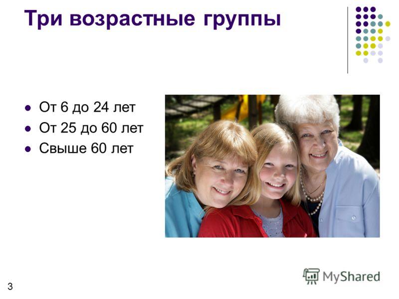 От 6 до 24 лет От 25 до 60 лет Свыше 60 лет Три возрастные группы 3
