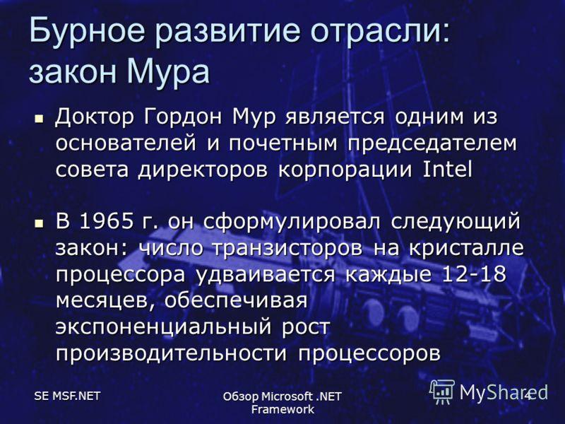 SE MSF.NET Обзор Microsoft.NET Framework 4 Бурное развитие отрасли: закон Мура Доктор Гордон Мур является одним из основателей и почетным председателем совета директоров корпорации Intel Доктор Гордон Мур является одним из основателей и почетным пред
