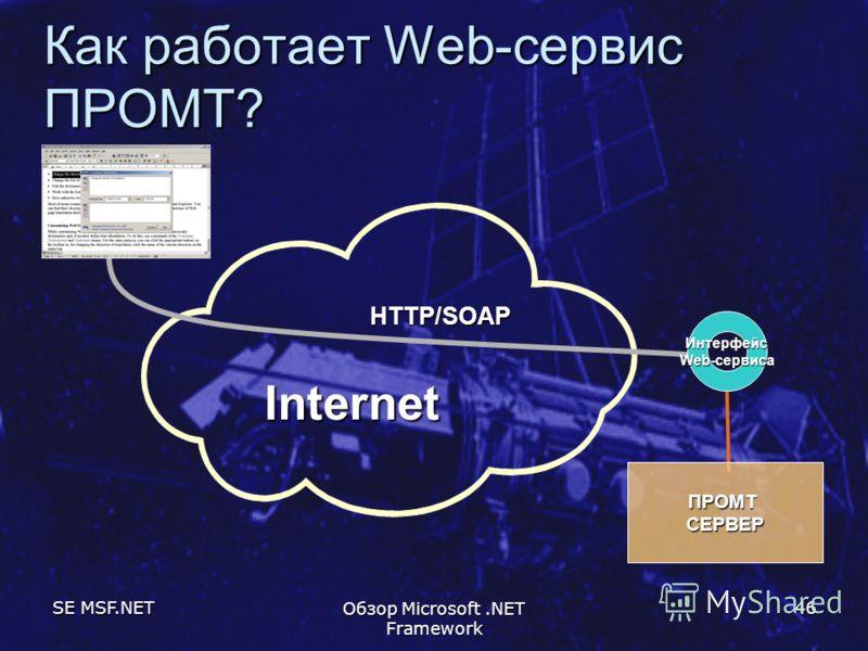 SE MSF.NET Обзор Microsoft.NET Framework 46 Как работает Web-сервис ПРОМТ? ПРОМТСЕРВЕР HTTP/SOAP Internet Интерфейс Web-сервиса