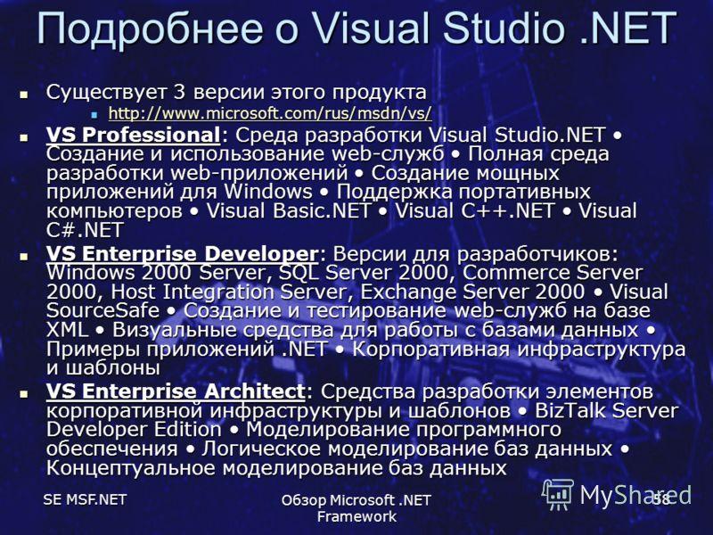 SE MSF.NET Обзор Microsoft.NET Framework 58 Подробнее о Visual Studio.NET Существует 3 версии этого продукта Существует 3 версии этого продукта http://www.microsoft.com/rus/msdn/vs/ http://www.microsoft.com/rus/msdn/vs/ http://www.microsoft.com/rus/m