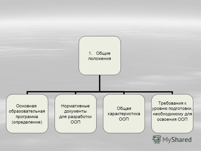1.Общие положения Основная образовательная программа (определение) Нормативные документы для разработки ООП Общая характеристика ООП Требования к уровню подготовки, необходимому для освоения ООП