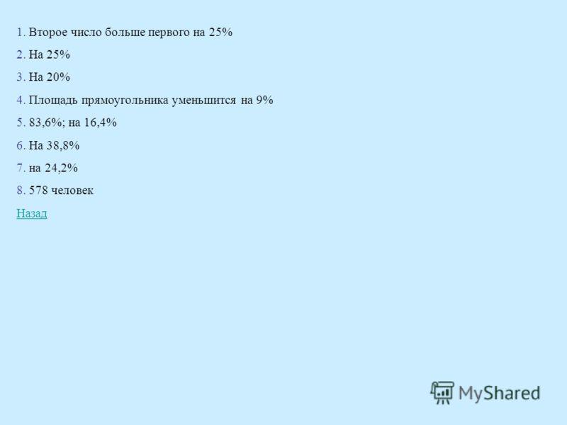 1. Второе число больше первого на 25% 2. На 25% 3. На 20% 4. Площадь прямоугольника уменьшится на 9% 5. 83,6%; на 16,4% 6. На 38,8% 7. на 24,2% 8. 578 человек Назад