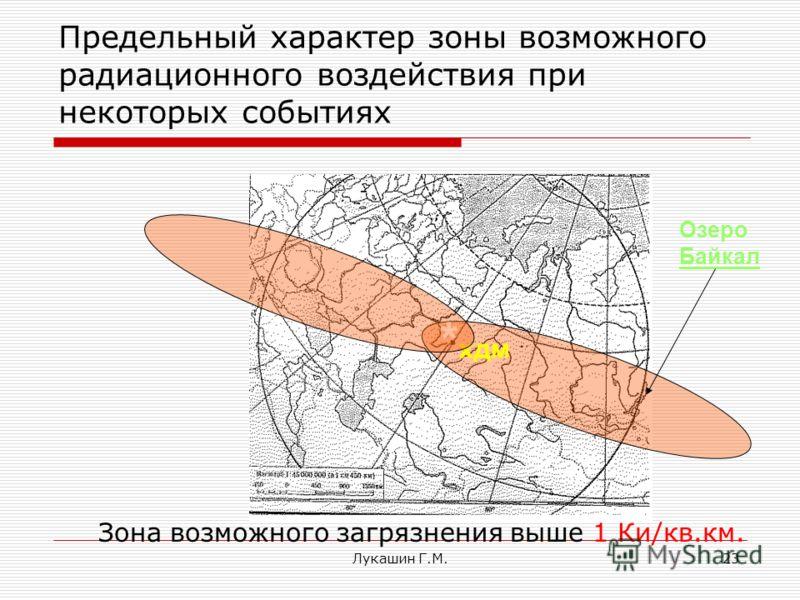 Лукашин Г.М.23 Предельный характер зоны возможного радиационного воздействия при некоторых событиях Зона возможного загрязнения выше 1 Ки/кв.км. * хдм Озеро Байкал