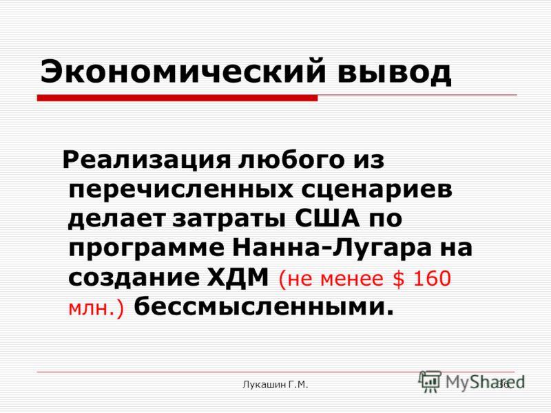 Лукашин Г.М.36 Экономический вывод Реализация любого из перечисленных сценариев делает затраты США по программе Нанна-Лугара на создание ХДМ (не менее $ 160 млн.) бессмысленными.