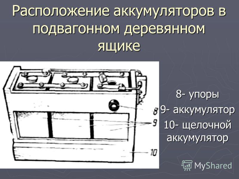 Расположение аккумуляторов в подвагонном деревянном ящике 8- упоры 9- аккумулятор 10- щелочной аккумулятор