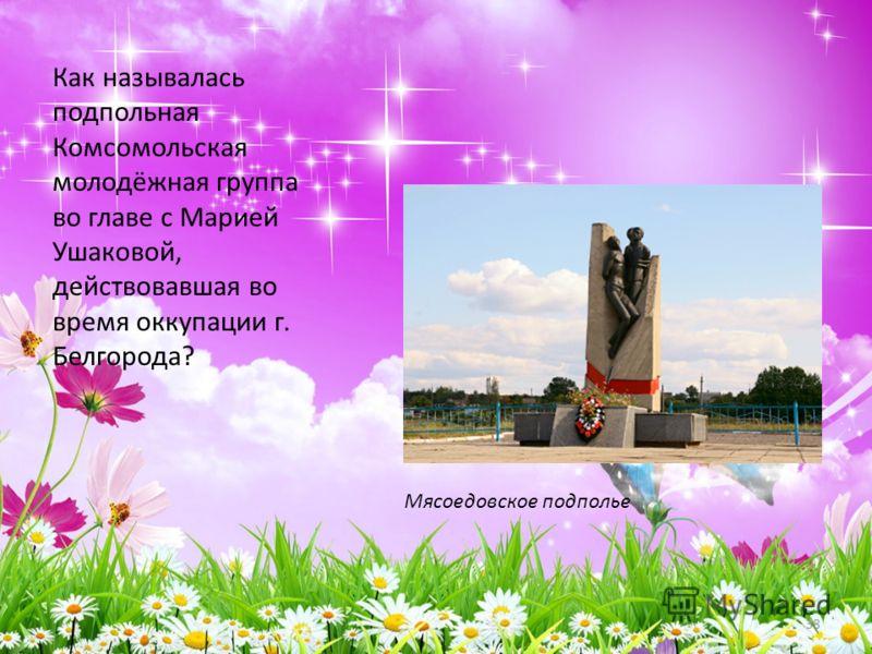 Как называлась подпольная Комсомольская молодёжная группа во главе с Марией Ушаковой, действовавшая во время оккупации г. Белгорода? 38 Мясоедовское подполье