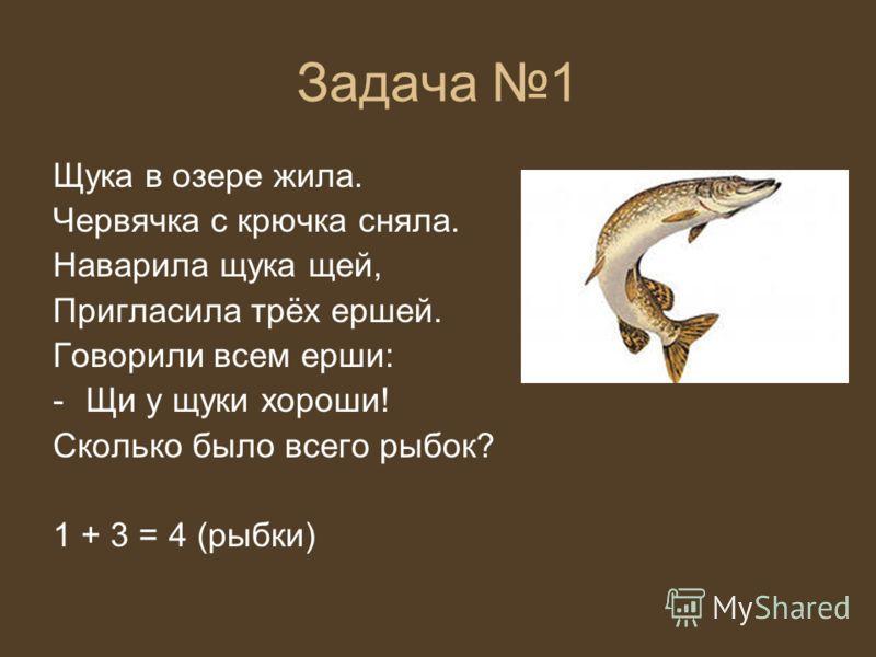 Задача 1 Щука в озере жила. Червячка с крючка сняла. Наварила щука щей, Пригласила трёх ершей. Говорили всем ерши: -Щи у щуки хороши! Сколько было всего рыбок? 1 + 3 = 4 (рыбки)