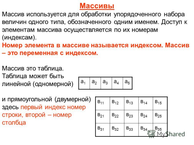 Массивы Массив используется для обработки упорядоченного набора величин одного типа, обозначенного одним именем. Доступ к элементам массива осуществляется по их номерам (индексам). Номер элемента в массиве называется индексом. Массив – это переменная