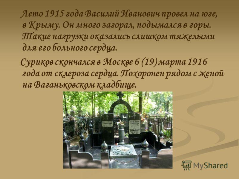 Лето 1915 года Василий Иванович провел на юге, в Крыму. Он много загорал, подымался в горы. Такие нагрузки оказались слишком тяжелыми для его больного сердца. Суриков скончался в Москве 6 (19) марта 1916 года от склероза сердца. Похоронен рядом с жен