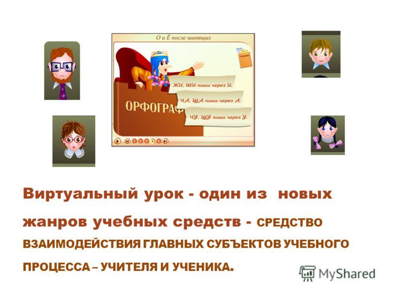 Виртуальный урок - один из новых жанров учебных средств - СРЕДСТВО ВЗАИМОДЕЙСТВИЯ ГЛАВНЫХ СУБЪЕКТОВ УЧЕБНОГО ПРОЦЕССА – УЧИТЕЛЯ И УЧЕНИКА.