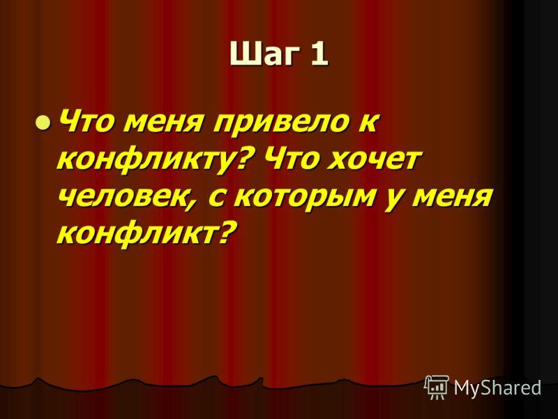 Шаг 1 Что меня привело к конфликту? Что хочет человек, с которым у меня конфликт? Что меня привело к конфликту? Что хочет человек, с которым у меня конфликт?
