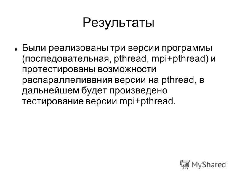 Результаты Были реализованы три версии программы (последовательная, pthread, mpi+pthread) и протестированы возможности распараллеливания версии на pthread, в дальнейшем будет произведено тестирование версии mpi+pthread.