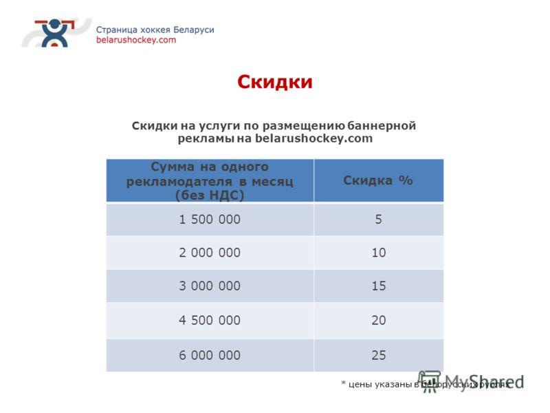Скидки Скидки на услуги по размещению баннерной рекламы на belarushockey.com Сумма на одного рекламодателя в месяц (без НДС) Скидка % 1 500 0005 2 000 00010 3 000 00015 4 500 00020 6 000 00025 * цены указаны в белорусских рублях