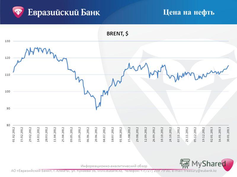 6 Информационно-аналитический обзор АО «Евразийский Банк», г. Алматы, ул. Кунаева 56, www.eubank.kz, телефон: +7(727) 259 79 00, e-mail: treasury@eubank.kz Цена на нефть