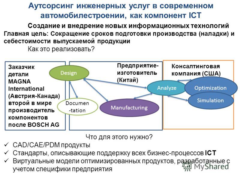 Создание и внедрение новых информационных технологий Главная цель: Сокращение сроков подготовки производства (наладки) и себестоимости выпускаемой продукции Как это реализовать? Что для этого нужно? CAD/CAE/PDM продукты Стандарты, описывающие поддерж