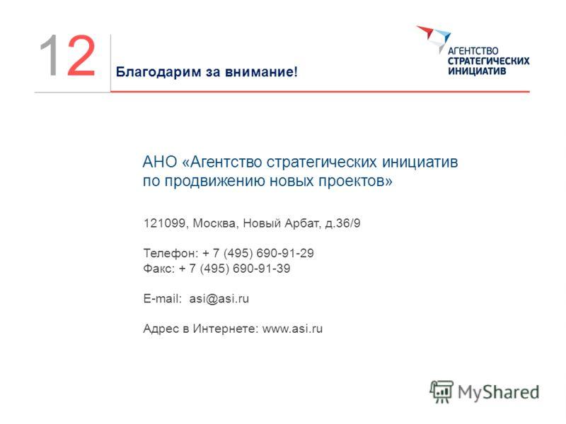 АНО «Агентство стратегических инициатив по продвижению новых проектов» 121099, Москва, Новый Арбат, д.36/9 Телефон: + 7 (495) 690-91-29 Факс: + 7 (495) 690-91-39 E-mail: asi@asi.ru Адрес в Интернете: www.asi.ru Благодарим за внимание! 1212