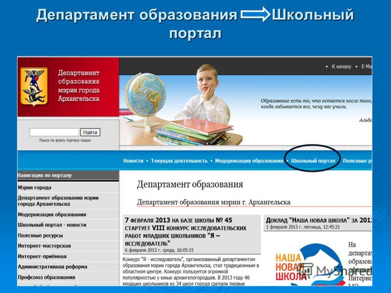 Департамент образования Школьный портал
