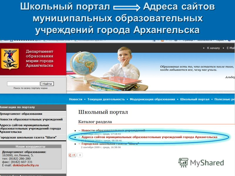Школьный портал Адреса сайтов муниципальных образовательных учреждений города Архангельска