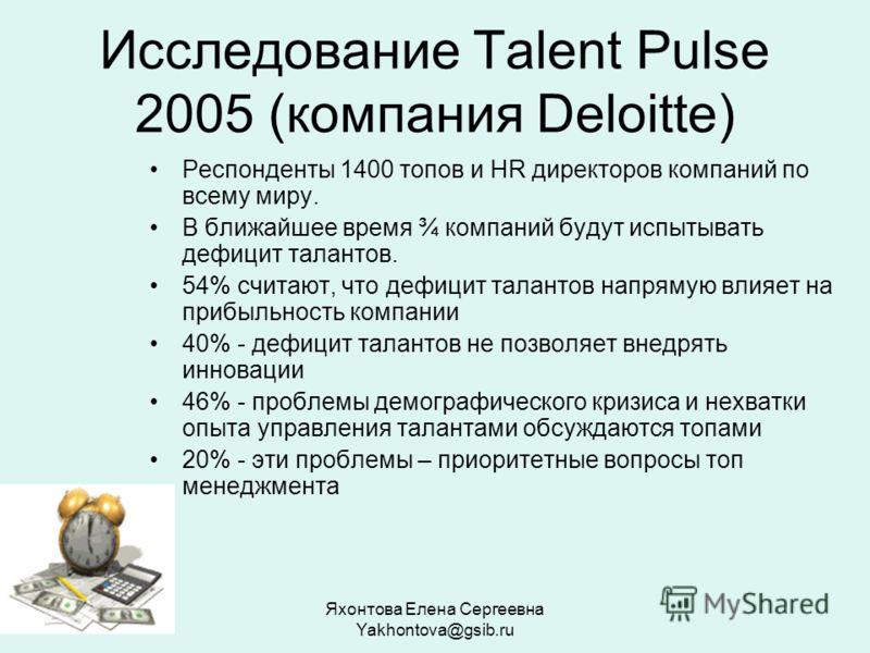 Яхонтова Елена Сергеевна Yakhontova@gsib.ru Исследование Talent Pulse 2005 (компания Deloitte) Респонденты 1400 топов и HR директоров компаний по всему миру. В ближайшее время ¾ компаний будут испытывать дефицит талантов. 54% считают, что дефицит тал