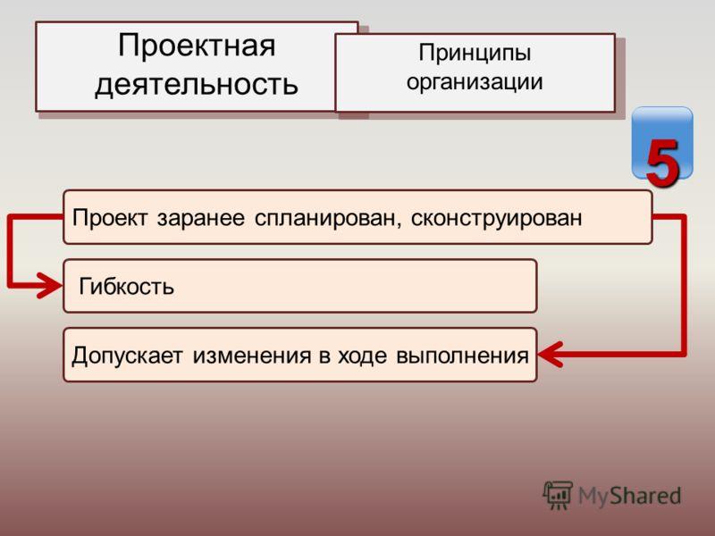 Проектная деятельность Принципы организации Проект заранее спланирован, сконструирован Гибкость Допускает изменения в ходе выполнения 5