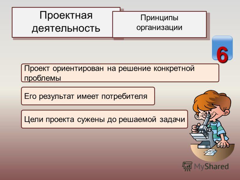 Проектная деятельность Принципы организации Проект ориентирован на решение конкретной проблемы Его результат имеет потребителя Цели проекта сужены до решаемой задачи 6
