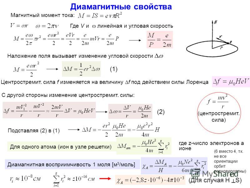Диамагнитные свойства Где V и линейная и угловая скорость Наложение поля вызывает изменение угловой скорости С другой стороны изменение центростремит. силы: (1) (2) Подставляя (2) в (1) Для одного атома (ион в узле решетки) Диамагнитная восприимчивос